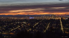 The View From Capitol Hill (Clayton Perry Photoworks) Tags: vancouver bc canada winter burnaby capitolhill explorebc explorecanada night lights sunset bcplacestadium clouds panorama