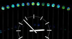 world - time (heinzkren) Tags: wien vienna hauptbahnhof uhr globus zeit time reflection spiegelung clock globe canon powershot bahnhofsuhr stationclock