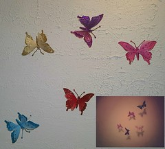 No Edits Originals... These are the butterflies from the past two days. (Crystal Writer) Tags: cellphoneproject project365 365project 365 crystalwriter christianwriter crystalmurray crystalamurray cellphonepicture picture photo pic image original edited photoedits colorful colourful colors colours pink purple gold turquoise red sparkles sparkling sparkly glitter glittery ceiling decor decoration shadow shadows vignette cellphoneedits android samsunggalaxynote5 galaxynote5 galaxynote androidapp toolwiz toolwizphotos butterflies ornaments creative androidphotography cameraphone cellphoneimage photograph