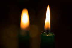Two Green Candles (gleavesm) Tags: candle candlelight flame macro