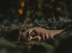 LETARGO (oroyplata.) Tags: woman tires letargo portrait eye mirada laze half beautiful light natural forest nature cconceptual concept valencia sesion oroyplata quedada 50mm lens fijo morning creative manipulation ps edition master creativo photography art fine feneart animal