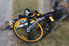Bicycle Chaos (suzanne~) Tags: bicycle bike 100bicycles project lensbaby munich germany detail obike bicyclesharing