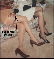 Oh! Suspender tweak! (emily_sheldon) Tags: highheels garters stockingfetish stockings transvestite crossdresser tranny stockingtops