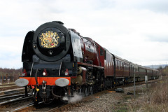 "46233 ""DUCHESS OF SUTHERLAND"" (Cumberland Patriot) Tags: lms london midland scottish railway 8p coronation pacific 6233 46233 duchess of sutherland steam locomotive loco engine royal train trains"