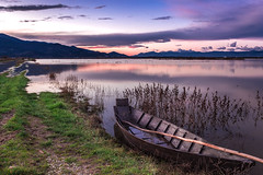 Boat (gianKE) Tags: lake boat landscape water nature boats background old sunrise sky watercolor reflection beauty beautiful travel two summer tourism scene tranquil paintings mountain blue shore idyllic