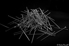 06 Sharp (manxmaid2000) Tags: sharp point metal pin head pointed silver sewing sew embroidery needlework monochrome random mess pile scattered pins pointy needle static