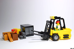 Yellow forklift (Devid VII) Tags: lego moc devid vii minifig minifigs detail details mini diorama hangar container containers forklift yellow devidvii