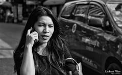 The morning calls (gunman47) Tags: 2017 asia asian b bw bangkok christmas december east mono monochrome nana sepia siam south thai thailand w black district mobile morning phone photography street talking white woman krungthepmahanakhon
