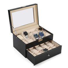 Large 20 Slot Wrist Watch Display Box Black Leather Watch Case Organizer Glass Top (1123596) #Banggood (SuperDeals.BG) Tags: superdeals banggood jewelry watch large 20 slot wrist display box black leather case organizer glass top 1123596