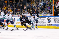 """Kansas City Mavericks vs. Florida Everblades, February 18, 2018, Silverstein Eye Centers Arena, Independence, Missouri.  Photo: © John Howe / Howe Creative Photography, all rights reserved 2018 • <a style=""""font-size:0.8em;"""" href=""""http://www.flickr.com/photos/134016632@N02/40342827002/"""" target=""""_blank"""">View on Flickr</a>"""