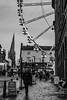 Chesterfield (deltic17) Tags: chesterfield stmarysallsaints crooked crookedspire blackwhite street ferris bigwheel mellors market monochrome rainy damp dark
