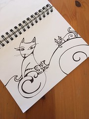 Sketchbook (Christine Brallier) Tags: drawing sketchbook art penandink blackandwhite christine brallier animal animals cat cats kitty kitties kitten kittens