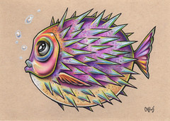 Funky Fish 8 (Bryan_Collins) Tags: prismacolor art drawing fish puffer nemo cute funny blow blowfish ocean illustration bryan collins