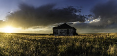 Leader Church Pano (Tom Herlyck) Tags: colorado elpasocounty sunset prairie abandoned bigsky clouds decaying easterncolorado goldenlight highplains light neglected old southerncolorado america colorful weather flickr pretty