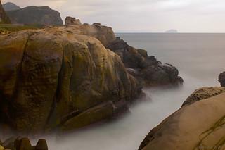 Ocean, Waves, Islet, and Rocks