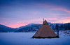 A colourful day. (Ben McKeown .thebigbluetree.com) Tags: tipi camping wildcamping sunset winter scandanavia norway