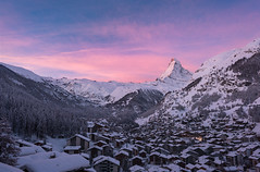 Stranded (inkasinclair) Tags: chalets alps swiss matterhorn zermatt snow winter mountain sunrise pink alpenglow houses trees helicopter avalanche stranded landscape