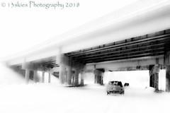 Lost Travels (HSS) (13skies) Tags: mono blackandwhite motion contrast highway highkey bridge snowy car transportation fast blacks whites happyslidersunday slider slidersunday postprocessing lightroom monochrome