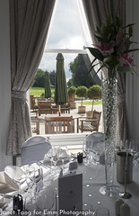 Near and far (janettangtc) Tags: weddings hampshire oakleyhall hotel venue functionroom reception indoor garden window white pink purple green silver wedding leaves trees lily rule thirds patio bench parasol grey glasses glass pebbles hearts