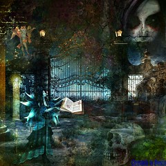ABERRIFIQUE CRYPTIQUE !!!!!!!!!!!!!!! (christabelle12300 -) Tags: angepitchounet corbeau têtedemort femme zombie livre artdigital netartii worldclassphoto
