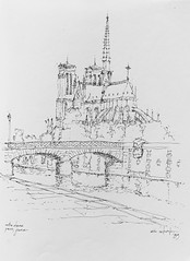 One of my favorite sketches of all time - Notre Dame de Paris, 1989 (schunky_monkey) Tags: building icon church inkdrawing penandink ink pen fountainpen art illustration sketching drawing draw sketch sketchbook travel europe france paris cathedral notredame
