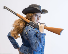 Howdy, Pardner! (edwicks_toybox) Tags: 16scale acplay tbleague brunette colt cowboyboots cowboyhat cowgirl daisydukes denimjacket femaleactionfigure flirtygirl juicetoys magiccube peacemaker phicen rifle seamlessbody shorts superduck winchester