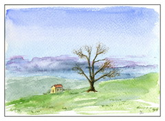campagne (ybipbip) Tags: aquarelle aquarell akvarell watercolor watercolour paint painting pintura paysage landscape