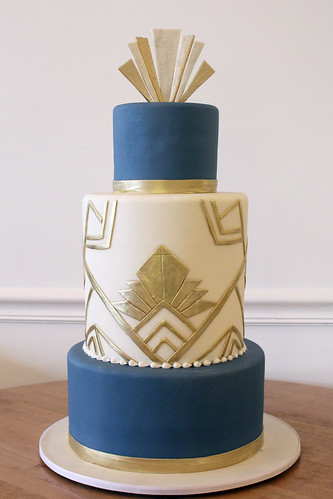 Gold and Blue Art Deco Wedding Cake