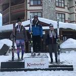 Kimberley Ladies' Overall Super-G Podium - 1st Zoe Belczyk ABST; 2nd Katrina Van Soest BAR;  3rd Kristina Natalenko BCST