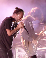 Yorke & Greenwood (peterkelly) Tags: digital panasonic lumix zs50 parcjeandrapeau montreal quebec canada northamerica osheaga osheagamusicartsfestival music musician festival concert 2016 radiohead thomyorke mike mic microphone johnnygreenwood guitar playing player guitarist singing singer