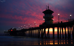 Color At the Last Minute (F.emme) Tags: beach sunset huntingtonbeach huntingtonbeachpier sky clouds color pier ocean pacificocean longexposure