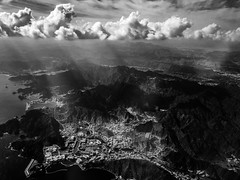 Break of lights through the clouds (Mubarak Fahad) Tags: mountains clouds light oman muscat blackandwhite bnw