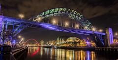 Newcastle Bridge (vasilis29) Tags: newcastle upon tyne bridge water river reflection light lights clouds architecture skyline steel arch outdoor night
