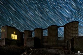 Star trail illuminating the old abandoned Concrete plant -  Pozo Cañada (Albacete,Spain)