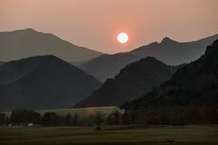 Smokey Sunset (wyojones) Tags: wyoming cody sunlightbasin smoke wildfires forestfires sunset haze ranch canyon nountains absarokamountains wyojones np