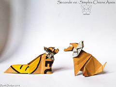 Seconde vie Simples : Chiens Assis - Barth Dunkan. (Magic Fingaz) Tags: anjing barthdunkan chien chó dog gremlins hond hund köpek monster origami perro pies пас пес собака หมา 개 犬 狗