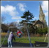 Fun at the Park. (marj.p. (Catching up!!)) Tags: stjohnschurchbexleykent bexley kent family playpark fujifilmfinepixhs50 swing
