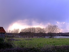 Heavy shower (Keith Coldron) Tags: landscape trees grass clouds shower rain lake