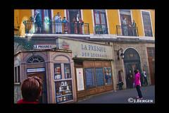 Fooled in Lyon, (Trompe L'oeil) (The Bop) Tags: build balconies men women stores outside railings costumes sidewalks shadows sun
