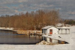 The Lake House (socalgal_64) Tags: carolynlandi snow snowy woods pennyslvania structure water lake pond dock shack reflections belfastpa northamptoncounty lakehouse boathouse usa clouds landscape art picturesque scenic coth5