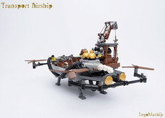 03_Transport_Airship (LegoMathijs) Tags: lego moc legomathijs steampunk mine transport airship crane cargo pickaxe ore trade propellors steampowered space scifi minifig exhaust miners mining discovering discovery