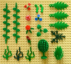 Bits and Pieces (linda_lou2) Tags: odc knolling 118picturesin2018 themeno23 bitsandbobs lego pieces flower vines palmleaf tree bush parrot