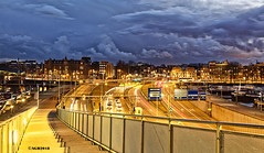 Amsterdam. (alamsterdam) Tags: amsterdam ijtunnel evening longexposure reflection hailstorm cars trails boats stairs