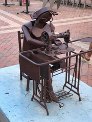 Seamstress (krossbow) Tags: gate1travel g1photofriday gate1 colombia photolemur travel southamerica vacation tour trip cartagena cartagenadeindias edgardo carmona statue estatua san pedro claver square plaza quotidian scrap metal seamstress sewingmachine garmentworker
