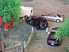 Sheriff's log 2/8/2018 (THE RANGE PRODUCTIONS) Tags: greenlight model matchbox fordtransit van fordpoliceinterceptorutility dodgechargerpursuit nissan hoscalefigures 164scale ford dioramas diecast diecastdioramas