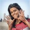 On Chowpatty Beach (channel packet) Tags: india mumbai young girl lady painted hands henna designs chowpatty beach davidhill sundaylights