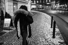 Walking Hood (Bomanson) Tags: blackandwhite bw monochrome gothenburg street night sweden