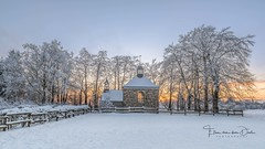 Winter church (Ellen van den Doel) Tags: 2018 fagnes mont belgie zonsondergang winter church nature landscape sunset venen outdoor color wolk wolken snow sneeuw hautes rigi hoge bomen landschap wood cloud tree ardennen natuur forest belgium weg weekend februari jalhay wallonie belgië be