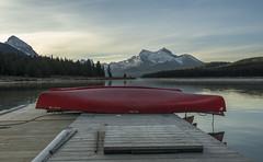 Maligne Sunrise (corybeatty) Tags: maligned lake jasper national park canada alberta sunrise light sun morning landscape tranquil dock canoe boat mountain rocky rockies