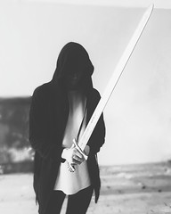 (AlexHaty) Tags: knight mantle sword bw